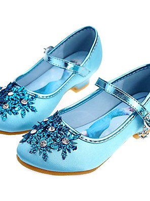 cheap Girls' Dresses-Girls' Flower Girl Shoes / Tiny Heels for Teens / Children's Day Satin Heels Toddler(9m-4ys) / Little Kids(4-7ys) / Big Kids(7years +) Rhinestone / Beading Blue / Silver Spring / Fall / Wedding