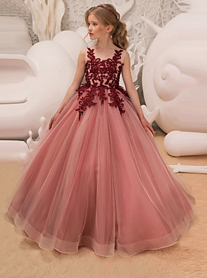 cheap Flower Girl Dresses-Princess Long Length Wedding / Party / Pageant Flower Girl Dresses - Lace / Tulle Sleeveless Jewel Neck with Lace / Belt / Appliques