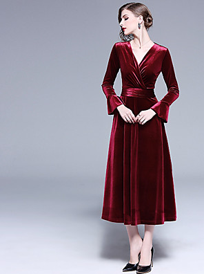 cheap Prom Dresses-A-Line V Neck Midi Velvet Bridesmaid Dress with Ruching