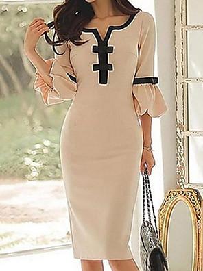 c2a3408fe4d1 Γυναικεία Λεπτό Εφαρμοστό Φόρεμα Ως το Γόνατο Ώμοι Έξω