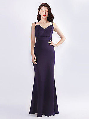 cheap Bridesmaid Dresses-A-Line Plunging Neck Floor Length Silk Bridesmaid Dress with Sash / Ribbon