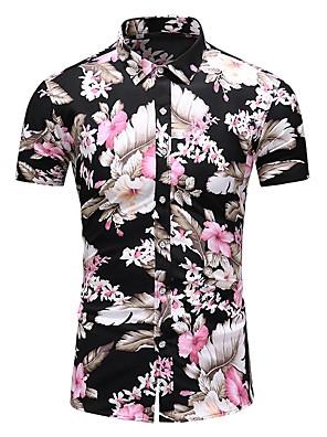 cheap Shirts-Men's Plus Size Shirt Floral Print Short Sleeve Tops Black