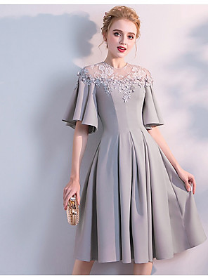 cheap Bridesmaid Dresses-A-Line Jewel Neck Knee Length Chiffon Bridesmaid Dress with Lace