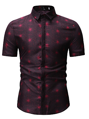 cheap Men's Shirts-Men's Geometric Print Shirt Classic Collar Blue / Red / Short Sleeve