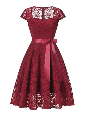 cheap Cocktail Dresses-Back To School A-Line Vintage Red Homecoming Cocktail Party Dress Queen Anne Short Sleeve Short / Mini Lace with Sash / Ribbon Lace Insert 2020 Hoco Dress
