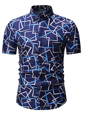 cheap Men's Shirts-Men's Geometric Print Shirt Classic Collar Blue / Gold / Short Sleeve