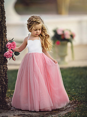 cheap Girls' Dresses-Kids Girls' Flower Basic Party Dusty Rose Solid Colored Sleeveless Maxi Dress Purple