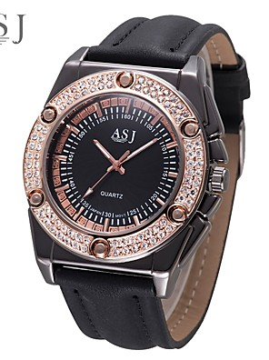 cheap Watches-ASJ Men's Dress Watch Japanese Quartz Quilted PU Leather Black / Chocolate Casual Watch Analog Vintage - Black Coffee