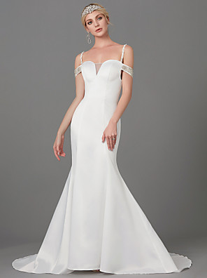 cheap Mother of the Bride Dresses-Mermaid / Trumpet Wedding Dresses Spaghetti Strap Court Train Satin Sleeveless with Buttons Beading 2020