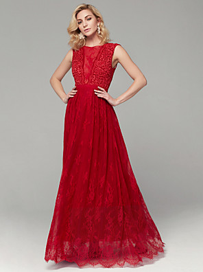 cheap Prom Dresses-A-Line Beautiful Back Prom Formal Evening Dress Jewel Neck Sleeveless Floor Length Lace with Appliques 2020