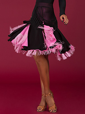cheap Flower Girl Dresses-Latin Dance Skirts Tassel Split Joint Women's Performance Dropped Spandex