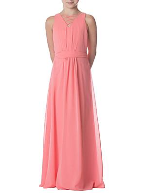 cheap Junior Bridesmaid Dresses-Sheath / Column Jewel Neck Floor Length Chiffon Junior Bridesmaid Dress with Pleats / Bandage