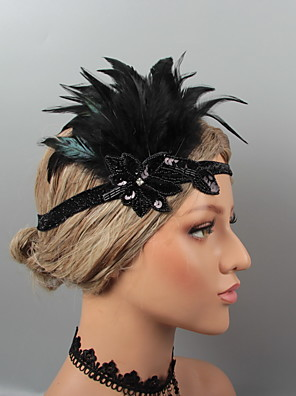 cheap Cocktail Dresses-Vintage 1920s The Great Gatsby Feathers Headbands / Headdress / Headpiece with Rhinestone / Crystal / Feather 1 pc Wedding / Party / Evening Headpiece