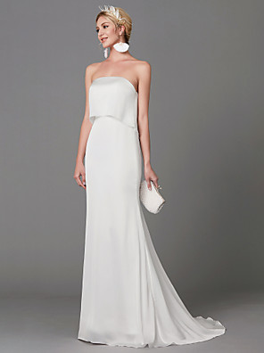 cheap Mother of the Bride Dresses-Mermaid / Trumpet Wedding Dresses Strapless Sweep / Brush Train Satin Chiffon Sleeveless with Ruffles 2020