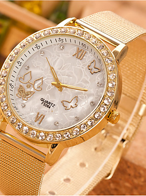 cheap Quartz Watches-Women's Quartz Watches Quartz Butterly Style Rhinestone Casual Watch Stainless Steel Gold Analog - Gold One Year Battery Life