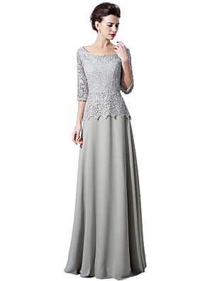 cheap Evening Dresses-A-Line Peplum Grey Wedding Guest Formal Evening Dress Scoop Neck Half Sleeve Floor Length Chiffon Lace with Lace Insert 2020
