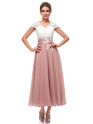 cheap Cocktail Dresses-A-Line Pink White Wedding Guest Formal Evening Dress V Neck Short Sleeve Ankle Length Chiffon Lace with Pleats Appliques 2020