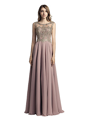 cheap Evening Dresses-A-Line Elegant Glittering Wedding Guest Formal Evening Dress Illusion Neck Sleeveless Floor Length Chiffon with Crystals Appliques 2020