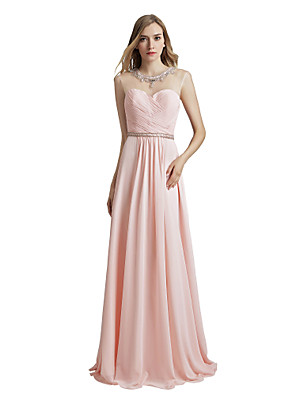 cheap Evening Dresses-A-Line Elegant Luxurious Engagement Formal Evening Dress Illusion Neck Sleeveless Floor Length Chiffon with Sash / Ribbon Pleats Beading 2020