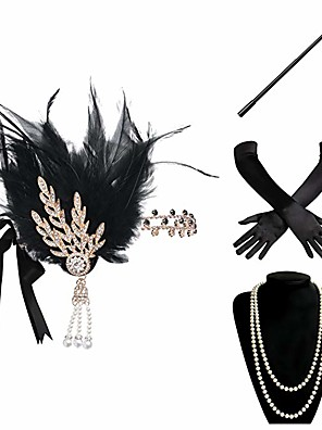 cheap Historical & Vintage Costumes-Charleston Vintage 1920s The Great Gatsby Costume Accessory Sets Flapper Headband Women's Feather Costume Necklace Black Vintage Cosplay Festival / Gloves / Gloves