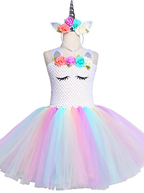 cheap Girls' Dresses-Kids Unicorn Tutu Dress Knee-Length Pastel Rainbow Children Halloween Unicorn Headband Set