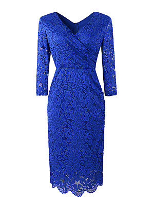 cheap Romantic Lace Dresses-Women's Shift Dress - 3/4 Length Sleeve Solid Color V Neck Wine Black Purple Green Royal Blue Navy Blue S M L XL XXL