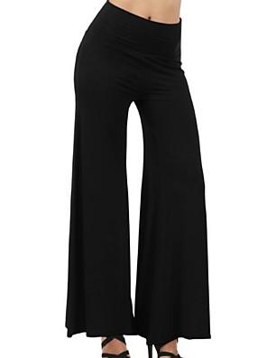 cheap Women's Blouses & Shirts-Women's Basic Wide Leg Pants - Solid Colored White Black Navy Blue S / M / L