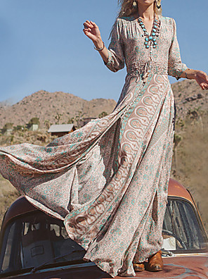 cheap Special Occasion Dresses-Mermaid / Trumpet Sheath / Column Chic & Modern Floral Holiday Dress V Neck 3/4 Length Sleeve Floor Length Chiffon with 2020