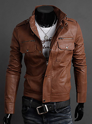 cheap Men's Jackets & Coats-Men's Daily / Going out / Work Vintage / Basic Spring &  Fall Regular Leather Jacket, Solid Colored Stand Long Sleeve PU Light Brown
