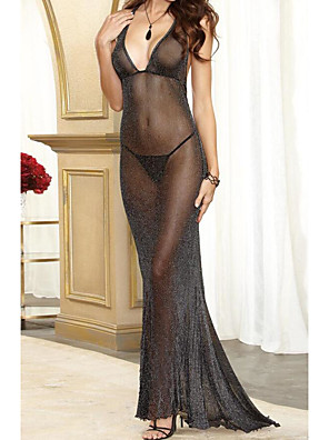 cheap Sexy Bodies-Women's Backless / Transparent Super Sexy Chemises & Gowns Nightwear Solid Colored Black S M L / Halter Neck / Deep V