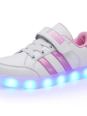 cheap Girls' Dresses-Boys' / Girls' LED / LED Shoes / USB Charging PU Sneakers Toddler(9m-4ys) / Little Kids(4-7ys) / Big Kids(7years +) Lace-up / LED / Luminous Pink / White / Black / White / Black Spring / Rubber