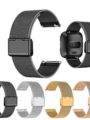 cheap Leather Watch Bands-Watch Band for Fitbit Versa Fitbit Classic Buckle Metal / Stainless Steel Wrist Strap