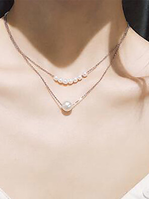 cheap Quartz Watches-Women's Necklace Layered Necklace Imitation Pearl Chrome Gold Silver 40 cm Necklace Jewelry 1pc For Daily Holiday School Street Festival