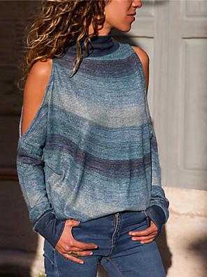 cheap Women's Sweaters-Women's Striped Long Sleeve Pullover Sweater Jumper, Round Neck Fall Cotton Orange / Blue / Rainbow S / M / L