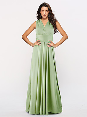 cheap Prom Dresses-A-Line Convertible Green Holiday Prom Dress Halter Neck Sleeveless Floor Length Stretch Satin with Sash / Ribbon Pleats 2020