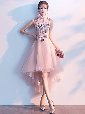 cheap Prom Dresses-A-Line Chinese Style Pink Cocktail Party Prom Dress High Neck Sleeveless Asymmetrical Tulle with Embroidery Appliques 2020