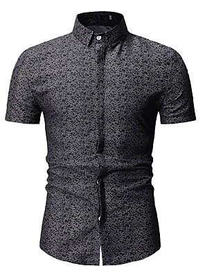 cheap Men's Shirts-Men's Floral Print Shirt Boho Street chic Classic Collar Black / Blue / Red