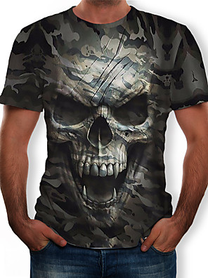 cheap Men's Tees & Tank Tops-Men's T-shirt 3D Graphic Skull Print Tops Round Neck Army Green / Camo / Camouflage