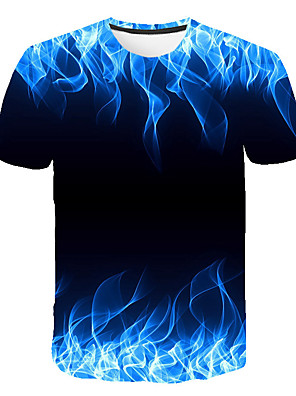 cheap Boys' Tops-Men's T-shirt Graphic Flame Print Tops Round Neck Blue Purple Orange