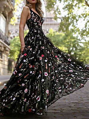 cheap Prom Dresses-A-Line Empire Black Holiday Beach Dress V Neck Sleeveless Floor Length Organza Tulle with Pattern / Print 2020