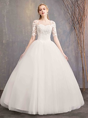 cheap Wedding Dresses-Ball Gown Wedding Dresses Sweetheart Neckline Floor Length Lace Tulle Half Sleeve Glamorous See-Through Illusion Sleeve with Appliques 2020 / Bell Sleeve