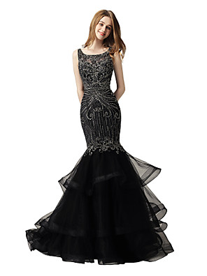 cheap Wedding Dresses-Mermaid / Trumpet Luxurious Sparkle Prom Formal Evening Dress Jewel Neck Sleeveless Court Train Lace Tulle with Beading Tier 2020