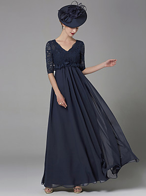 cheap Mother of the Bride Dresses-A-Line Mother of the Bride Dress Elegant & Luxurious V Neck Floor Length Chiffon Lace Half Sleeve with Lace Bow(s) 2020