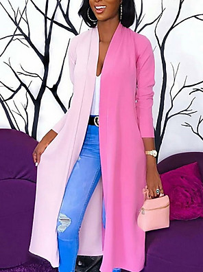 cheap Women's Coats & Trench Coats-Women's Daily Fall & Winter Long Trench Coat, Color Block / Solid Colored V Neck Long Sleeve Polyester Chiffon / Fashion White / Blushing Pink