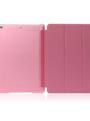 cheap iPad case-Case For Apple iPad Air Shockproof / with Stand / Translucent Full Body Cases Solid Colored Hard PU Leather