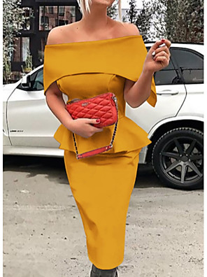 cheap Women's Dresses-Women's Sheath Dress - Short Sleeve Solid Colored Ruffle Fashion Spring Summer Off Shoulder Cocktail Party Slim Black Red Yellow Green S M L XL XXL