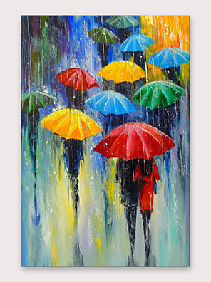 cheap Cocktail Dresses-IARTS®Hand Painted In the Rain Oil Painting with Stretched Frame For Home Decoration