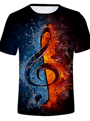 cheap Men's Tees & Tank Tops-Men's Daily T-shirt Graphic Flame Print Short Sleeve Tops Round Neck White Black Purple / Summer