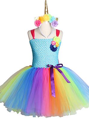 cheap Girls' Dresses-Handmade Toddler Kids Candy Unicorn Flower Christmas Dress Princess Costume Headband