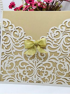 """cheap Wedding Dresses-Flat Card Wedding Invitations 10 - Invitation Cards Artistic Style Pearl Paper 6""""×6"""" (15*15cm) Ribbons"""